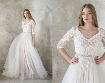 Lace Wedding Dress Ivory Bridal Gown Tulle 3