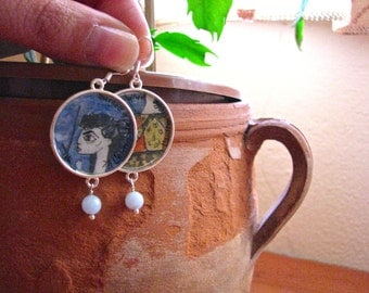 PICASSO earrings-Jacqueline with flowers hand-painted