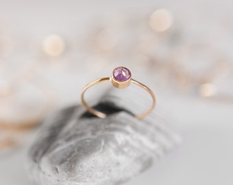 Amethyst Ring | February Birthstone | 14K Gold Filled | Stacking Ring | Minimalist Ring | Gift For Her | Thin Ring | Dainty Valentine's Gift