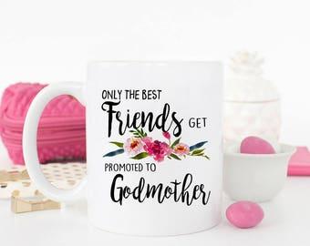 Friends Promoted to Godmother Godfather Mug, Friend Godmother mug, Gift for Friend Godmother Godfather, Baptism Gift for Friend, Baptism Cup