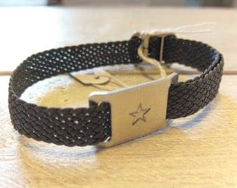 Vegan woven womens armband, braided, star symbol, retro