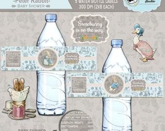INSTANT DOWNLOAD|| Classic Peter Rabbit Baby shower Water bottle labels|| Baby Boy||Printable||