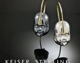 Empress 18KT Gold & Sterling Silver Doll Face Drop Earrings / Diamond Eyes, Childs Face, Baby Doll Face