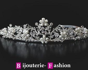 Tenderness,Tiara, Crystal Crown,Bridal Tiara,Swarovski Crystal,Wedding tiara,Crown,Czech stones,accessory,royal diadem