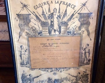 Gorgeous fencing in his military patent frame Napoleon III. Lithography. antique french. Military fencing. 1886 Militaria