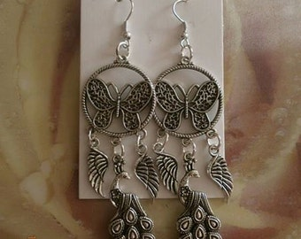 Butterfly and Peacock earrings