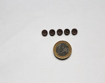Set: 5 smallest brown buttons for dolls