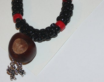 n2 Lucky buckeye and spider adjustible hairbone necklace