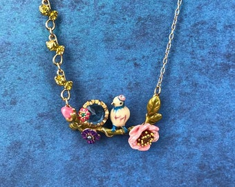 Handmade Enamel Bird on a Branch Necklace, 3D, Perch, Nature, Animal, Spring, Unique, Mother's Day