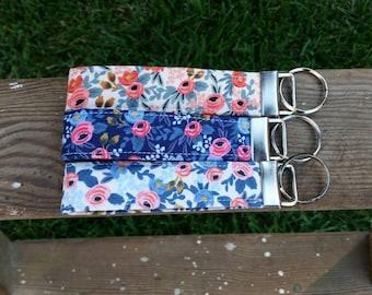 Floral key fob | navy blue | coral | pink | Rifle Paper Company | Les Fleurs | key wristlet | key chain | lanyard