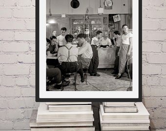 New York City Photo, Italian-American Cafe, Italian Immigrants, Italian Coffee shop Little Italy, Historical, Apartment Artwork, Black White