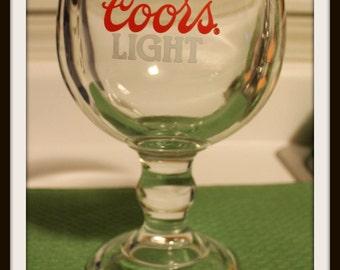 Coors Light 20 oz Stemmed Heavy Chalice Goblet, Beer Glass Goblet, Heavy Duty Glass Beer Goblet, Coors Light Glass Goblet