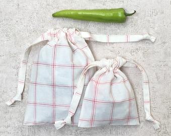 smallbags Plaid - ivory - 2 sizes - reusable cotton bags - zero waste