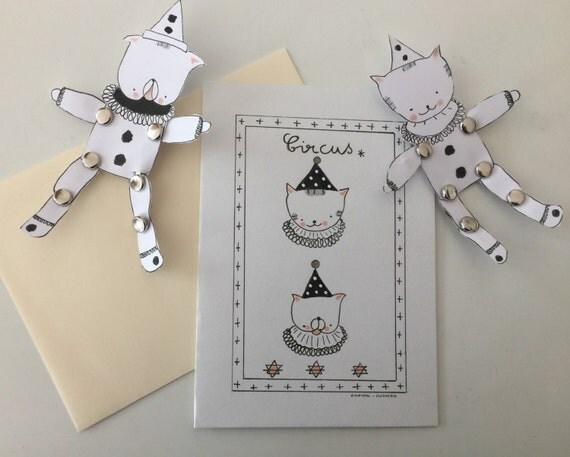 "Folded card ""Choumi et Michou édition Circus"""
