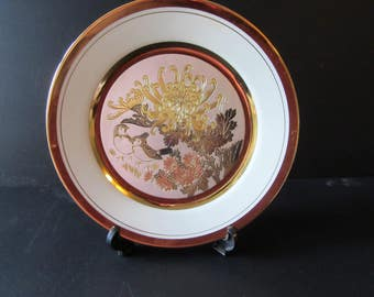 The Art of Chokin Limited Edition plate Naohisa Hori Takeyoshi Takeda #5587 design number 33314 Chrysthaemum bird Japanese collectors plate