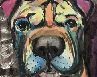 Custom Watercolor Dog Portrait - Colorful!