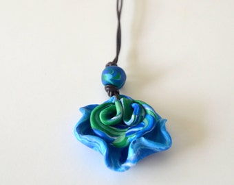 Blue and Green Petal Necklace