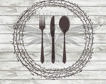 Kitchen SVG Cut File | Silverware Wreath svg | Kitchen Svg | Kitchen sign SVG | Cutting Board svg | Kitchen svg design | Cooking svg