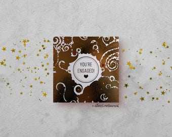 Happy Engagement Card - Gold Foil Peach Card - Henna Paisley Card - Indian Paisley Card - Hand Finished Card