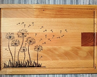 Handcrafted Cutting Board with wood burning of Dandelions