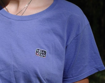 Hell Yeah Patch Embroidery Tshirt Purple
