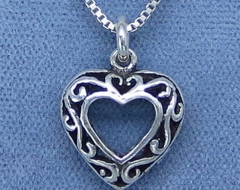 Filigree Heart Necklace - Sterling Silver - Dainty - P140559