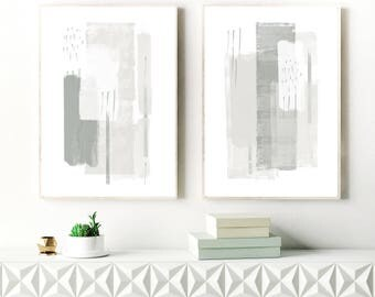 Grey Abstract Art, Grey and White Minimalist Paintings, Set of two Instant download Prints, Printable Minimal Art, Minimalist Modern Art