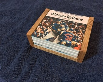 Chicago Cubs World Series Champions Coasters -4 coasters with the front page of the Chicago Tribune