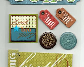 Brothers Soft Spoken Scrapbook Stickers Embellishments Cardmaking Crafts Me & My Big Ideas