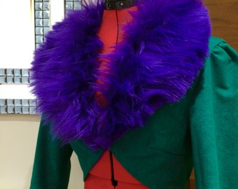 Green Suedette and Purple Faux Fur Tailcoat