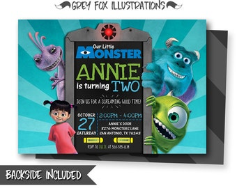Monsters Inc Invitation, Monsters Inc Birthday Invitation, Monsters Inc, Sully and Mike, Personalized, Picture, Photo, Printables