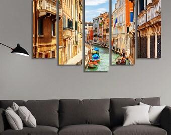 LARGE XL Rio Marin Canal Boats Gondolas Canvas Print the Ponte de la Bergami Venice, Italy Canvas Wall Art Print Home Decoration - Stretched