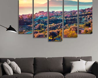 LARGE XL Spring Sunset Solanto village Mediterranean Province Palermo Sicily, Italy Canvas Print Wall Art Print Home Decoration - Stretched