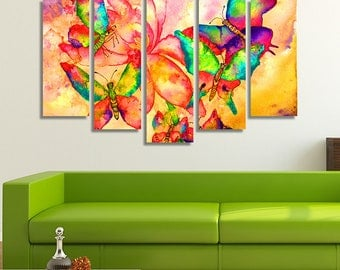 LARGE XL Abstract Colorful Watercolor Painting Canvas Print Vibrant Colorful Butterflies Canvas Wall Art Print Home Decoration - Stretched