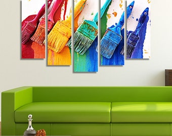 LARGE XL Artistic Signboard Canvas Print Chora, Mykonos in Greece Canvas Colorful Paint Brushes Wall Art Print Home Decoration - Stretched