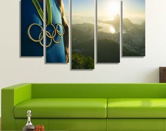 LARGE XL Athlete Canvas Print Olympic Rings Medal Canvas Rio De Janeiro Brazil Olympic Games Wall Art Print Home Decoration - Stretched