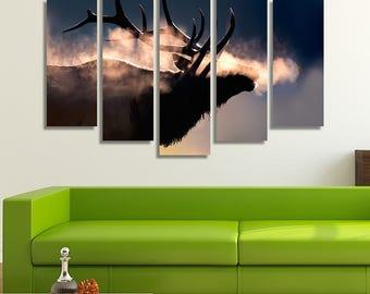 Elk Antler, Elk, Elk Print, Deer Antler, Deer Head, Deer Print, Deer Picture, Mountain Home Décor, Mountain House, Animal Canvas Art