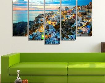 Santorini Print, Greece Print, Greece Photography, Living Room Decor, Living Room Art, Living Room Wall Art, Sunset Print, Sunset Art