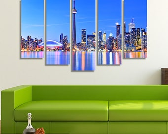 Toronto Skyline, Canada, Home Décor Wall, Living Room Wall Décor, City Wall Art, 5 Panel Canvas, 5 Panel Wall Art, Stretched Canvas