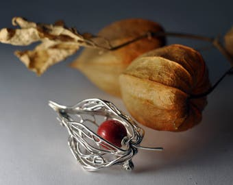 925 Silver brooch physalis, brooch nature, rabbit space, jewelry, pearl, hand made silver