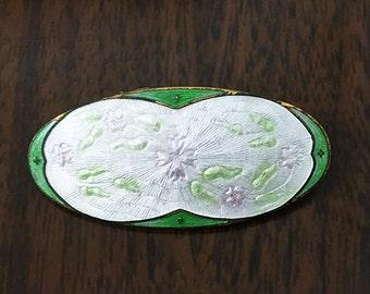 Vintage Cloisonné Brooch Forest Green w/ Pastel Green Violet & White Floral Design Vintage Hand-Painted Enamel on Brass Art Deco Vinatge Pin