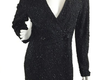 1980s/90s Carmen Marc Valvo Black Double Breasted Vintage Coat with Beading and Lace Pattern (10040CL)