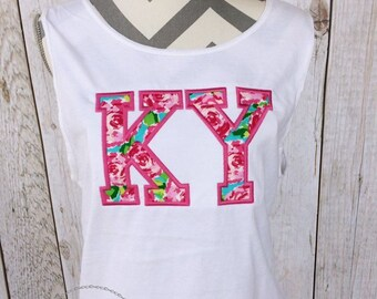Lilly Inspired Tank Top - Lilly Inspired Kentucky Tank Top- Lilly Pulitzer Inspired - State Tank Top - State Pride
