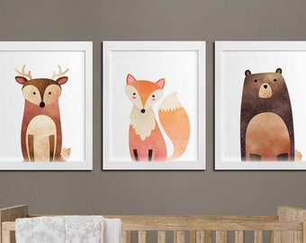Nursery woodland printable set of 3 wall art, baby room decor bear fox and deer kids room art download, woodland playroom decor