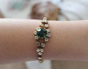Emerald Green Czech Glass White Rhinestone Gold Tone Bracelet
