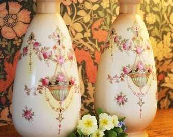 A pair of antique Edwardian Crown Devon blushware vases, c1911; 'Etna' pattern; flower vases;