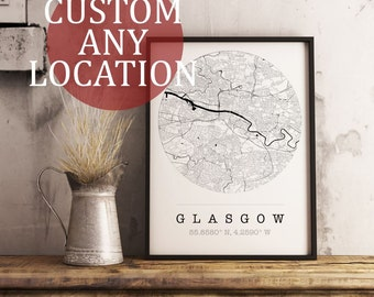 Custom Map Art. Any Location. Personalised Map. Circle Design. City Map Art. Mounted Canvas Available