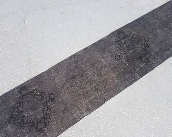 2.5x12.5 Distressed Rug,Vintage Handwoven Oushak Wool Runner Rug,Area Rug,Smoked color runner rug,Office Rug,Vintage Turkish Rug