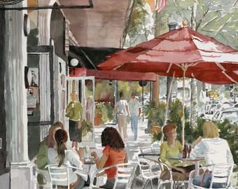 Print of Original Watercolor Painting, cityscape, Winter Park, Florida, Park Plaza Gardens, red umbrellas, cafe, American flag, Edie Fagan