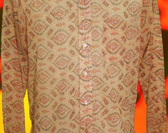 """Vintage Rare 1960's Psychedelic Paisley dagger collar shirt Size: 15 1/2"""" Collar Dandy, Mod Carnaby street, Granny takes a trip 60s 70s"""